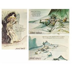 "Set of (3) Marc Davis Signed ""Pirates"" Postcards."