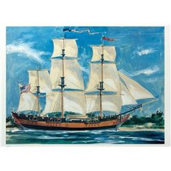 "Large ""Sailing Ship Columbia"" 40th Anniversary Lithograph."