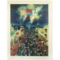 """Olympic Night"" Disneyland Lithograph."