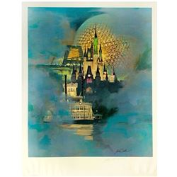 Walt Disney World 15th Anniversary Lithograph.