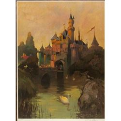 "Signed ""Sleeping Beauty Castle at Twilight"" Lithograph."