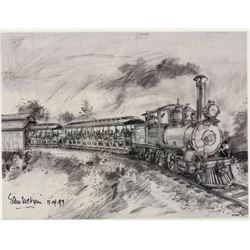 """Fred Gurley Steam Train"" Concept Art Lithograph."