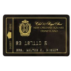 """Lillian Disney """"Club 33"""" Membership Card."""