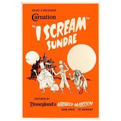 "Haunted Mansion ""I Scream"" Sundae Silkscreened Poster."