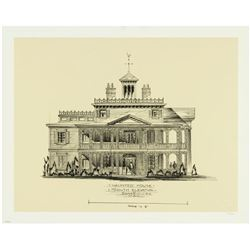 """Haunted Mansion"" South Elevation Lithograph."