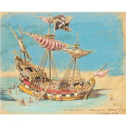 "Hand-Colored ""Pirate Ship"" Concept Art."