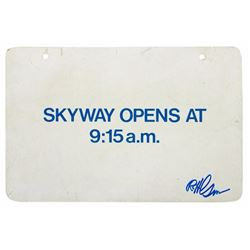 """Skyway"" Sign with Hand-Written Message."