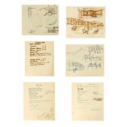 Set of (6) Tomorrowland Concept Drawings and Notes.