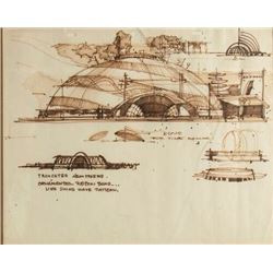 Herb Ryman Original Tomorrowland Concept Drawing.