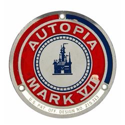 """Autopia"" Mark VII Vehicle Badge."