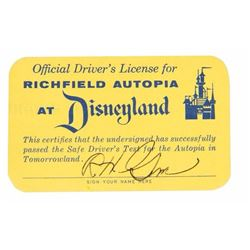 Autopia  Junior Driver's License Signed by Bob Gurr.