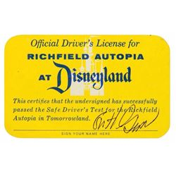 Autopia  Driver's License Signed by Bob Gurr.