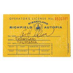 """""""Autopia"""" Driver's License Signed by Bob Gurr."""