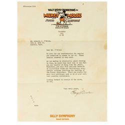 Walt Disney Productions Employment Letter.