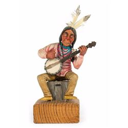 Indian Playing Banjo Maquette.