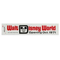 Walt Disney World Opening Bumper Sticker.
