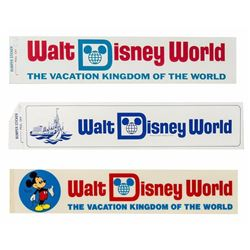 Set of (3) Walt Disney World Bumper Stickers.