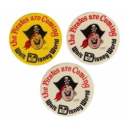 "Set of (3) ""The Pirates are Coming"" Buttons."