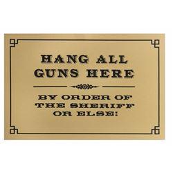 Frontierland  Hang All Guns Here  Sign.