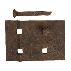 """""""Fort Wilderness R.R."""" Tie Plate, Bolt, and Spike."""