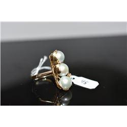 Pearl & Diamond Ring - 3 Cultured Pearls 8.5mm, 2 Round Brilliant Cut Diamonds Approx .03 ct, 14K Go