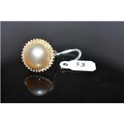 Cultured Mabe Pearl & Diamond Ring - 15mm Pearl, 34 Round Brilliant Cut Diamonds Approx .17 ct, 14K
