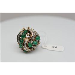 Emerald & Diamond Cluster Ring, 8 Emerald Cabochons 3.5X4.5mm, 35 Round Single Cut Diamonds Approx .
