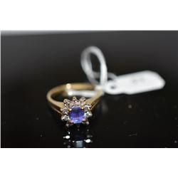 Tanzanite & Diamond Ring 5.2 x 4.1 x 3mm, Approx .50 ct, 10 Brilliant Cut Diamonds Approx .20 ct, 14