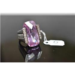 Cubic Zirconia Amethyst Ring, 26 x 13.5 x 8.2mm, Approx 40 ct, 12 Cubic Zirconias Approx .18 ct, Ste