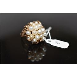 Pearl Cluster Ring - 25 Freshwater Cultured Pearls, 14K Yellow Gold, 10.1 grams