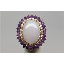 Jadeite/Amethyst/Diamond Ring - 22x15mm Jadeite Cabochon, 28 Amethysts Approx 1.40 ct, 28 Diamonds A