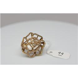 Petaled Flower Diamond Ring - 108 Round Single Cut Diamonds Approx .54 ct (10 diamonds missing), 14K