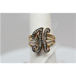 """Initial """"K"""" Diamond Ring - 10 Round Diamonds .10 ct, 14K Yellow Gold, 4 g"""