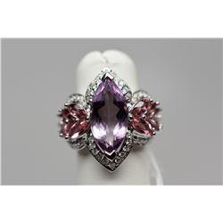 Amethyst & Diamond Ring - 3.5 ct Amethyst, 14 Tourmalines, 57 Diamonds, 18K, 8.5 g