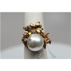 Pearl & Diamond Ring - 12mm South Seas Cultured Pearl, 4 Diamonds .06 ct, 14K Yellow Gold, 8.2 g