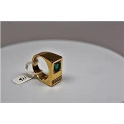 Gent's Emerald & Diamond Ring - 7.2x6.5x3.7mm Rectangle Emerald 1.25 ct, 5 Round Diamonds .15 ct, 14