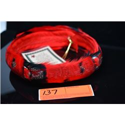 "Red & Black Goose Feather Hat Band - 2 1/4"" Dyed Red w/ Blk & Wht Spotted Feathers, Good Cond."