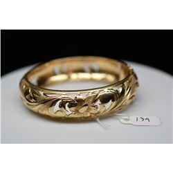 14K Gold Bangle Bracelet 12.5mm, Leaf Scroll & Floral Motifs, Hinged, 45.9 g