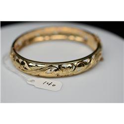 14K Gold Bangle Bracelet 10.5mm, Leaf Scroll & Floral Motifs, Hinged, 20.7 g