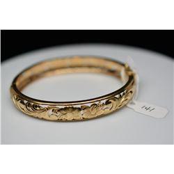 14K Gold Bangle Bracelet 10mm, Leaf Scroll & Floral Motifs, Hinged, 22.2 g