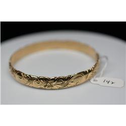 14K Gold Hawaiian Bangle Bracelet 9.5mm, Embossed Leaf & Floral Motifs, 32.9 g