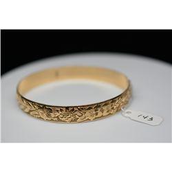 14K Gold Hawaiian Bangle Bracelet 10mm, Embossed Tropical Floral & Maile Vine Motifs, 25.8 g
