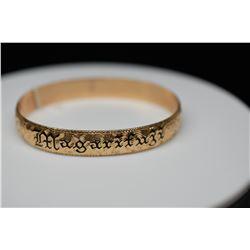 "14K Gold & Black Enamel Hawaiian Bangle Bracelet 10mm, Embossed Floral Motifs, ""Magarifuji"" in Black"