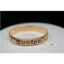 """14K Gold & Black Enamel Hawaiian Bangle Bracelet 11.5mm, Embossed Floral Motifs, """"Kuuipo"""" in Black E"""