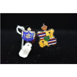 "Qty 2 Sterling Enameled Hawaiian Coat of Arms Hat Pins, 7 3/4"" - 8 1/4"" Length"