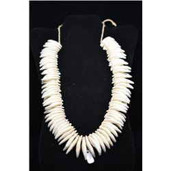 "Tooth Necklace w/Braided Cord Tie, 20"" Length, Period Reproduction"