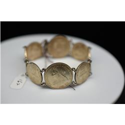 Silver Bracelet w/ (4) 1901 Shilling Coins, (4) 1901 Six Pence Coins, Unmarked 925 Silver, 39.6 g