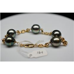 "Gucci Tahitian Pearl 14K Link Bracelet - 5 Cultured Pearls 11.5mm, 7"" Length, 14K Yellow Gold, 15.5"