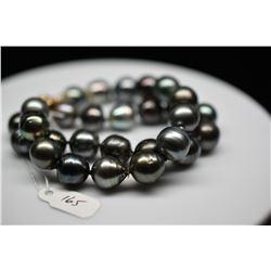 "Dbl Strand Tahitian Pearl Bracelet - 10.5-12mm Cultured Pearls, White Pearls/Ruby, 7 1/2"" L, 14K Gol"