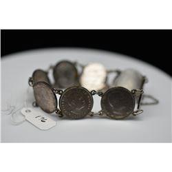 Silver Hawaiian 1883 Dime Bracelet w/8 Dimes, Unmarked Silver